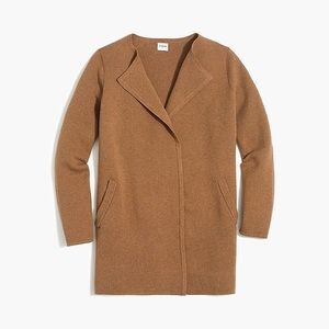 NWT J.crew sweater jacket in camel brown